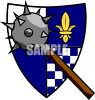 Morning Star Spiked Weapon and a Coat of Arms Clip Art clipart
