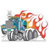 Semi With Flames Clip Art clipart