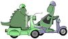 Two Dinosaurs Racing on Scooters Clip Art clipart