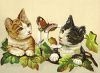 Vintage Clip Art of Two Kitten Watching a Butterfly clipart