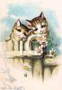 Vintage Clip Art of Two Kittens on a Fence clipart
