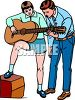 Learning to Play Guitar with Music Teacher Clip Art clipart