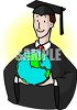 College Graduate Holding a Globe of the World Clip Art clipart