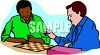 Two Men Playing Checkers Clip Art clipart