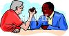 A Black Man and a White Man Arm Wrestling Clip Art clipart