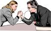 Man and Woman in Business Suits Arm Wrestling Clip Art clipart