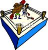 Cartoon of a Boxer Winning a Boxing Match Clip Art clipart
