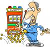 Cartoon of a Man Winning a Jackpot clipart