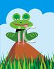 Frog Sitting on a Hill In the Grass clipart