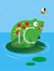 Toad Sitting on a Lily Pad clipart