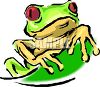 Little Red-Eyed Tree Frog Peaking Over a Leaf clipart