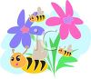Cute Bees and Flowers Clip Art clipart