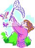 Girl Catching Butterflies with a Net Clip Art clipart