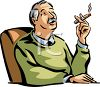 Man Smoking a Cigar clipart