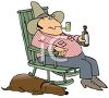 Hillbilly and His Sleeping Hound Dog Clip Art clipart
