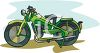 Old,  Military Style Motorcycle Clipart clipart