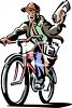 Newspaper Boy Delivery on His Bike Clipart clipart
