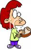Girl Eating a Sandwich Cartoon Clip Art clipart