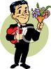 Old Fashioned Guy in a Tux, Bringing Flowers and Candy clipart