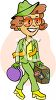 Traveling Woman Holding Her Suitcase clipart