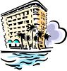 Vintage Hotel By the Ocean Clip Art clipart