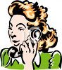 Vintage Woman Talking on the Telephone Clip Art clipart
