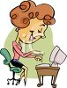 Cartoon Woman Typing on a Computer Clip Art clipart