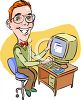 Geeky Nerd  Who Loves His Computer Clip Art clipart