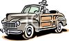 Man in a Vintage Woody Convertible Car Clip Art clipart