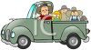 Farmer and His Family Riding In a Pickup Truck clipart