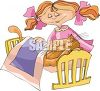 Little Girl Putting Her Kitty To Bed clipart