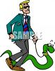 Man Walking His Pet Snake clipart