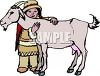 Ethnic Child with a Pet Goat clipart