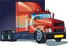 Semi-Truck With a Sleep Over Cab clipart