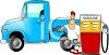 Cartoon of a Man Filling His Truck With Gas Clip Art clipart
