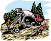 Men Unloading a Cement Mixer Clip Art clipart