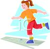 Little Girl Playing Hopscotch clipart