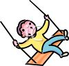 Boy on a Wooden Swing clipart