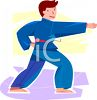 Youth Practicing Karate Moves clipart