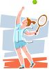 Teenaged Girl Playing Serving a Tennis Ball clipart