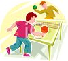 Two Teenaged Boys Playing Table Tennis clipart