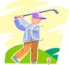 Tennaged Boy Playing Golf clipart