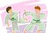 Teen Boys Practicing Martial Arts Moves clipart