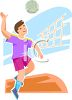 Adolescent Boy Playing Volley Ball clipart