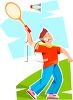 Teen Boy Playing Badminton clipart
