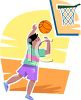 Boy Shooting Hoops clipart