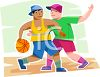 Friends Playing Basketball clipart