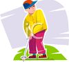 Teen Teeing Off at Golf clipart