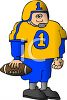Cartoon of a Chunky Football Player Wearing His Jersey clipart