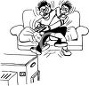 Two Teen aged Boys Fighting Over a Television Remote Control clipart